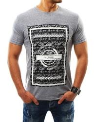 Atraktivní pánské tričko s potiskem šedé - XXL