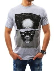 Originální pánské šedé tričko s lebkou