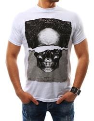 Jedinečné bílé pánské tričko s lebkou