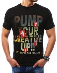 Módní černé pánské tričko s potiskem - XXL