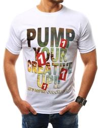 Stylové pánské bílé tričko s potiskem - M