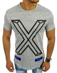 Pánská tričko šedé s modrými prvky a mohutnou potiskem - L