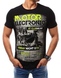 Módní černé tričko s barevným potiskem - XXL