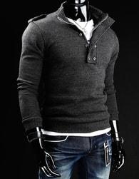Grafitový pánský svetr s knoflíky