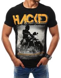 Černé tričko s barevným potiskem - XXL