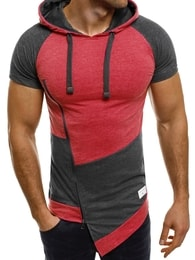 Athletic Dlouhé pánské tričko s kapucí ATHLETIC 1102 červené