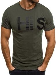 Breezy Bavlněné pánské zelené tričko HIS BREEZY 544T