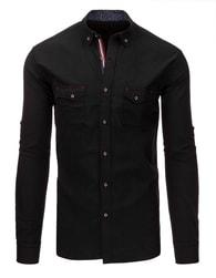 Pánská černá košile s barevným lemem