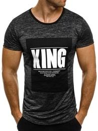 J. Style Vzorované černé pánské tričko KING J.STYLE SS009 - XXL