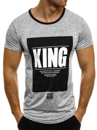 J. Style Moderní pánské šedé tričko s potiskem KING J.STYLE SS009 - L