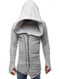 J. Style Trendy šedá prodloužená pánská mikina J.STYLE 2036-10