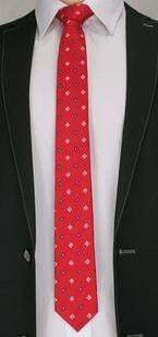 Červená pánská kravata s kytkami