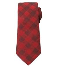 Červená károvaná pánská kravata