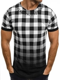 Breezy Kvalitní černo-bílé kostkované tričko BREEZY 532