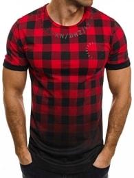 Breezy Kostkované pánské tričko v červené barvě BREEZY 532