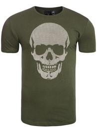 Breezy Zelené khaki tričko pánské s lebkou BREEZY 377 - S