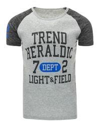 Trendy šedé pánské tričko s potiskem - M