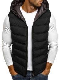 J.Boyz Černá moderní vesta s kontrastní kapucí J.BOYZ 1002 - XL