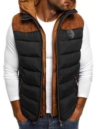 J.Boyz Černá prošívaná vesta s kontrastní vložkou J.BOYZ 1005 - XL
