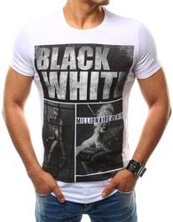 Bavlněné bílé pánské tričko s potiskem - XXL