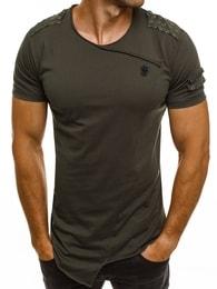 Breezy Designové khaki asymetrické tričko BREEZY 716BT - XXL