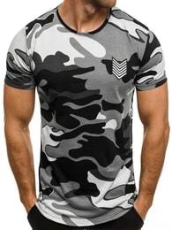 Breezy Šedé maskáčové tričko s potiskem BREEZY 708