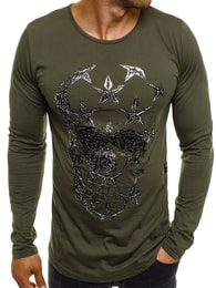 Breezy Khaki zelené tričko s lebkou BREEZY 171332 - S