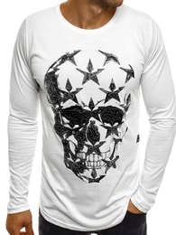 Breezy Bílé atraktivní pánské SLIM FIT tričko s lebkou BREEZY 171332 - M