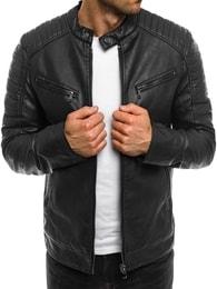 Stegol Stylová pánská černá koženková bunda STEGOL 917 - M