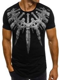 Breezy Výrazné černé pánské tričko BREEZY 599