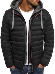 J. Style Černá moderní pánská bunda s falešnou mikinou J.STYLE 505-10