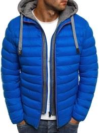 J. Style Modrá pánská moderní bunda s falešnou mikinou J.STYLE 505-10