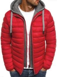 J. Style Červená atraktivní pánská bunda s falešnou mikinou J.STYLE 505-10