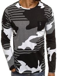 Breezy Černé pásnké maskáčové tričko BREEZY 171405