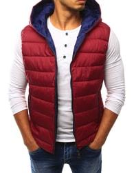 Dstreet Červená pánská vesta s kapucí - XXL