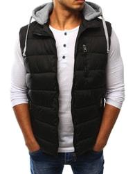 Dstreet Zajímavá černá vesta s kapucí - XXL