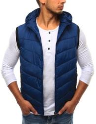 Dstreet Prošívaná modrá vesta s lemem - XXL
