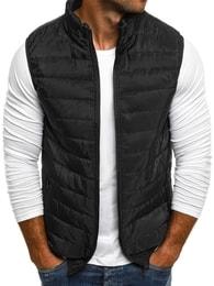 J. Style Prošívaná pánská černá vesta J.STYLE AK89