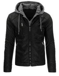 Dstreet Trendy pánská koženková černá bunda 3144