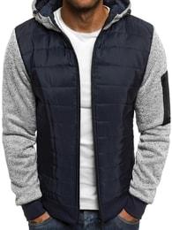 Dstreet Moderní tmavě modrá bunda s prošívaným vzorem