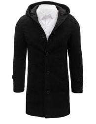 Dstreet Atraktivní černý dlouhý kabát