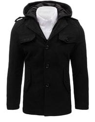 Dstreet Černý moderní pánský kabát s kapucí