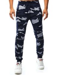 Dstreet Tmavě modré maskáčové tepláky s ozdobným zipem
