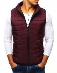 Dstreet Pánská prošívaná bordó vesta bez kapuce