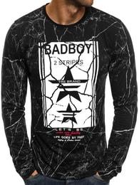 J. Style Trendy černé tričko s dlouhým rukávem J.STYLE SX08