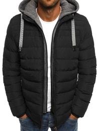 J. Style Zajímavá černá prošívaná bunda s imitací mikiny J.STYLE 517-10