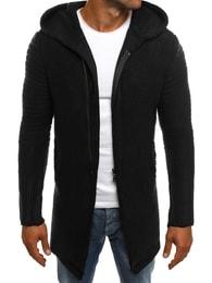 Madmext Prodloužený černý svetr na zip MADMEXT 2124S - XXL