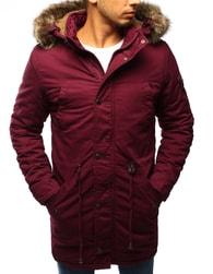 Dstreet Atraktivní bordó zimní bunda s kapucí