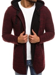 Bordó svetr na zip BREEZY 171550 - XXL