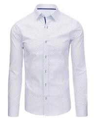 Dstreet Bílá společenská vzorovaná košile SLIM FIT